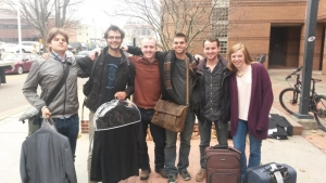 Students with luggage getting ready to depart