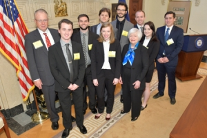 Students with Fed. Reserve Chair Janet Yellen